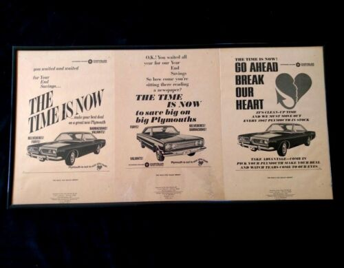 NOS 1967 VINTAGE PLYMOUTH Dealership newspaper ad slicks Cuda Belvedere set of 3