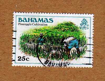 "BAHAMAS 25c Definitive - Pineapple Cultivation SG566 ""1980 Printing"" Used"