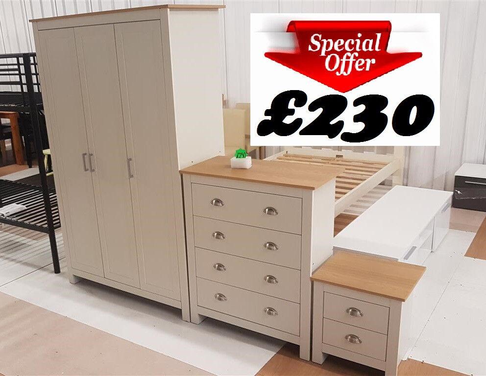 Three Piece Ledbury Bedroom Furniture Set Cream Oak