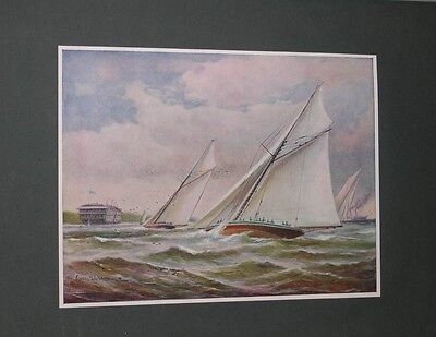 LARGE ANTIQUE YACHTING RACING PICTURE 1902 BY C.J. DE LACY SPORT YACHT BOAT