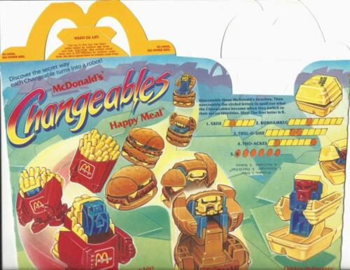 Happy Meal 1987  McDonalds Changeables Boxes