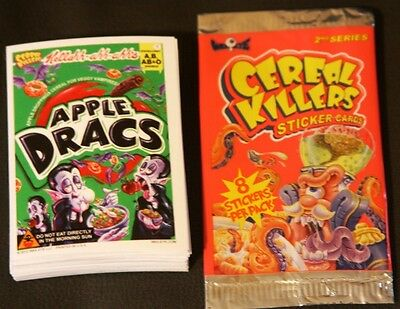 2012 CEREAL KILLERS 2ND SERIES LIKE WACKY PACKAGES COMPLETE 55 CARD SET +WRAPPER