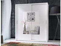 NEW Bedroom wardrobe with mirror * hanging rail sliding doors shelfs 180 cm