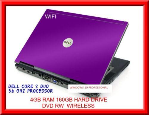 "Laptop Windows - Cheap Purple Dell Laptop Windows 10 DVD Core 2 Duo 4GB Ram WIFI DVD 14.1"" LCD BC"