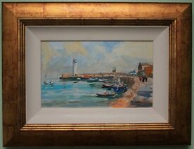 Irish Art Original Oil Painting LIGHTHOUSE AT DONAGHADEE HARBOUR by PAT O'CONNOR