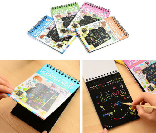 Fashion Creative DIY For Kids Children Black Cardboard Draw Notebook School Gift