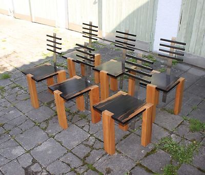 Set 6 DESIGN STÜHLE Ebenholz Schweizer Birne -  Borek SIPEK (1949-2016 Prag)attr
