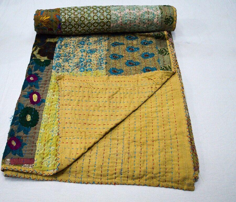 Indian Handmade Queen Cotton Kantha Quilt Throw Blanket Beds