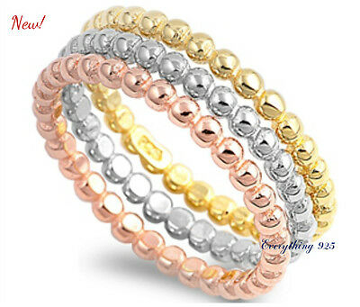 Sterling Silver 925 TRI-COLOR STACKABLE ETERNITY BEADS DESIGN RING 6MM SIZES4-12 Designer Tri Color Ring