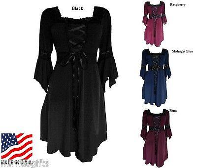 MISSY PLUS SIZE LONG SLEEVE DRESS RENAISSANCE STYLE CORSET DRESS 1X 2X  - Renaissance Style Dress
