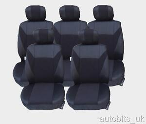 BLACK 5X FABRIC FULL SET SEAT COVERS FOR 5 SEATER CAR FORD