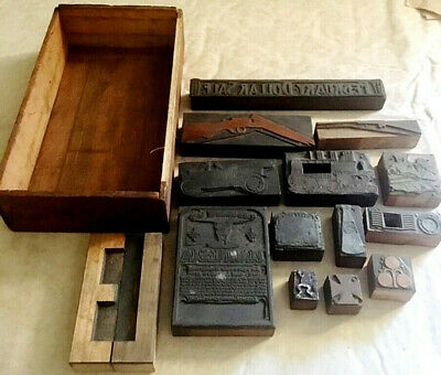Antique Mixed Lot Of 14 Metal Wood Letterpress Block Print Stamps In Wood Box