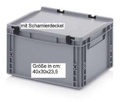 Stabile Allzweck Aufbewahrungskiste Stapel-Boxen mit Scharnier-Deckel 40x30x23,5