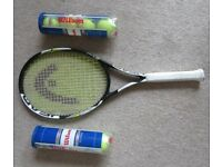 For Sale - Head Metallix Tennis Racquet with 8 Balls