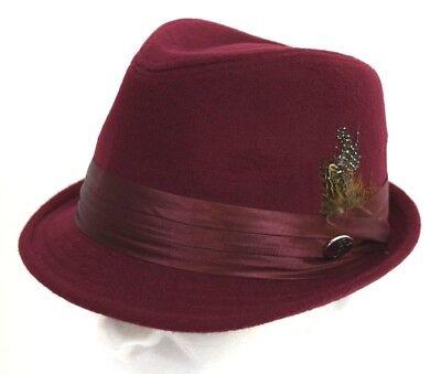 Cuban Hat (Men's Fedora Hat Cuban Style Upturn Short Brim Casual Cap Wool Blend Burgundy)