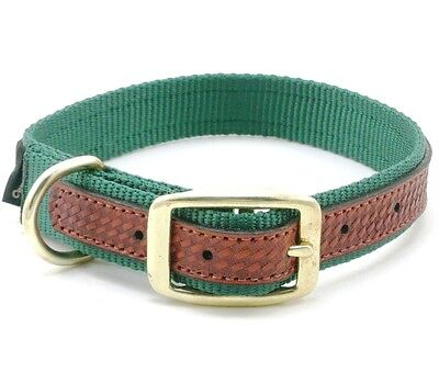 Hunter Dog Leather Collar (WEAVER Traditions West Nylon Dog Collar, Leather Overlay, 21