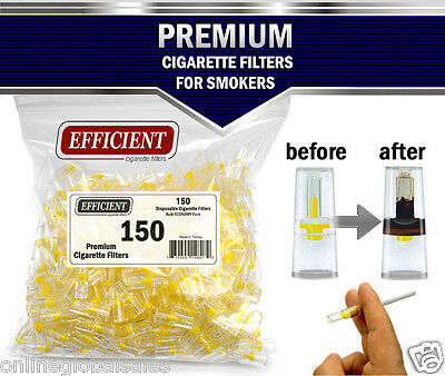 EFFICIENT Bulk Cigarette Filter Tips Block, Filter Out Tar & Nic (150 Filters)