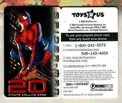 TOYS R US Spider-Man 2002 Phone Card