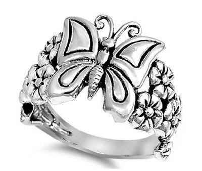 Sterling Silver 925 BUTTERFLY WITH PLUMERIA FLOWER DESIGN RING 16MM SIZES - Plumeria Design