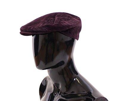 NEW $280 DOLCE & GABBANA Purple Cotton Logo Newsboy Cap Hat Cabbie s. 59 / L