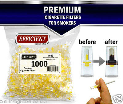 EFFICIENT Bulk Cigarette Filter Tips Block, Filter Out Tar & Nic (1000 Filters)