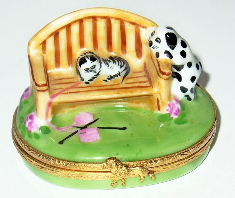 LIMOGES FRANCE BOX~ ARTORIA ~KITTEN ON GARDEN BENCH & DALMATIAN PUPPY~ CAT & DOG