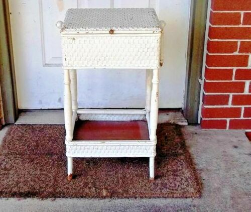 Beautiful Heywood Wakefield Victorian Wicker Sewing Stand -Dates from 1897 -1920