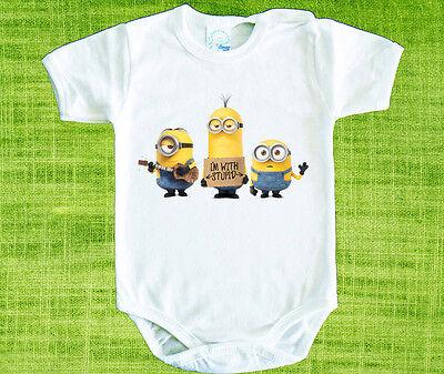Minions LOGO BABY BODYSUIT ONESIE ONE PIECE CLOTHING  - Minion Onesie Baby