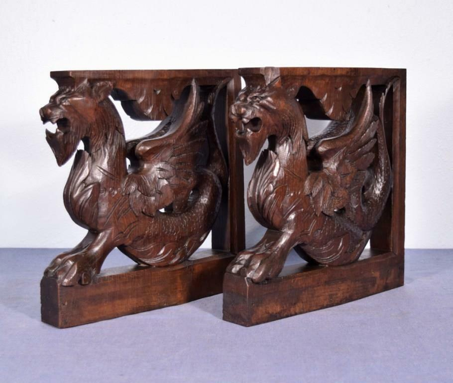 *French Antique Solid Oak Wood Statues/Pedestals with Griffins or Lions