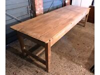 Antique pine refectory table - seats 10