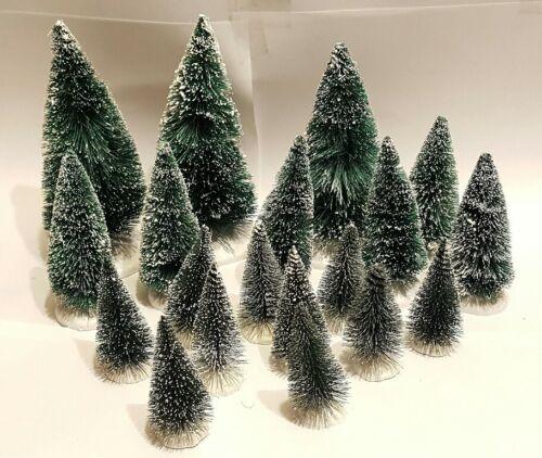 "LOT 19 Mini GREEN Miniature Sisal Bottle Brush Flocked Christmas Trees 2""-5""TALL"