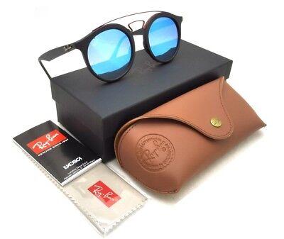 NWT Authentic Ray-Ban Gatsby 4256 6252/B7 Matte Black Red/Blue Mirror 49-20-150 (Gatsby Mirror)