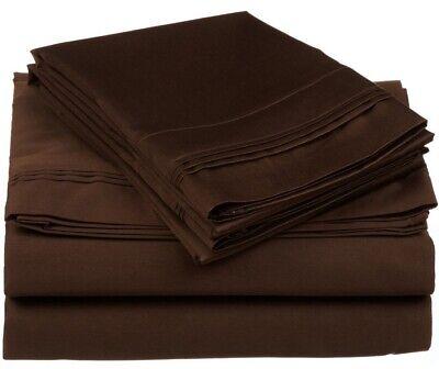4-pc California King 100% Egyptian Cotton Chocolate Sheet Set Triple Pleated Hem Bed California King Chocolate
