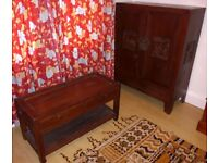 Very old Chinese carved cupboard on stand