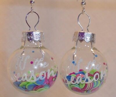 Confetti Fun Filled Clear Glass Ball Ornament Holiday Earrings - Xmas, New Years