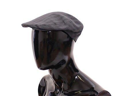 NWT $260 DOLCE & GABBANA Gray Checkered Linen Logo Newsboy Cap Hat Cabbie 58/M