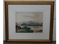 """Paper paint of """"Loch Glow"""" with E.F. sign and dated 1899, professionally framed"""