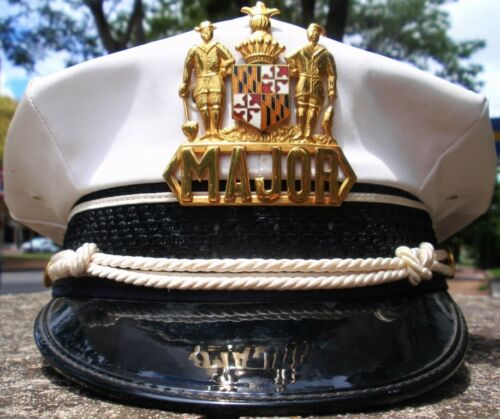 US BALTIMORE POLICE MAJOR WHITE CAP HAT OBSOLETE