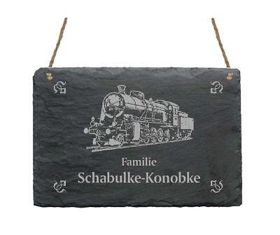 « LOKOMOTIVE » Schiefertafel Türschild mit MOTIV + IHR TEXT - Lokführer