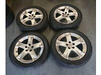 """Genuine OEM Peugeot 17"""" 5x108 alloy wheels + excellent tyres! Ford connect focus volvo"""