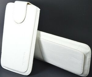 Leather Slip In Pull Up Hand Pouch Case +Strap For Lava Iris 3G 402 WHITE available at Ebay for Rs.249