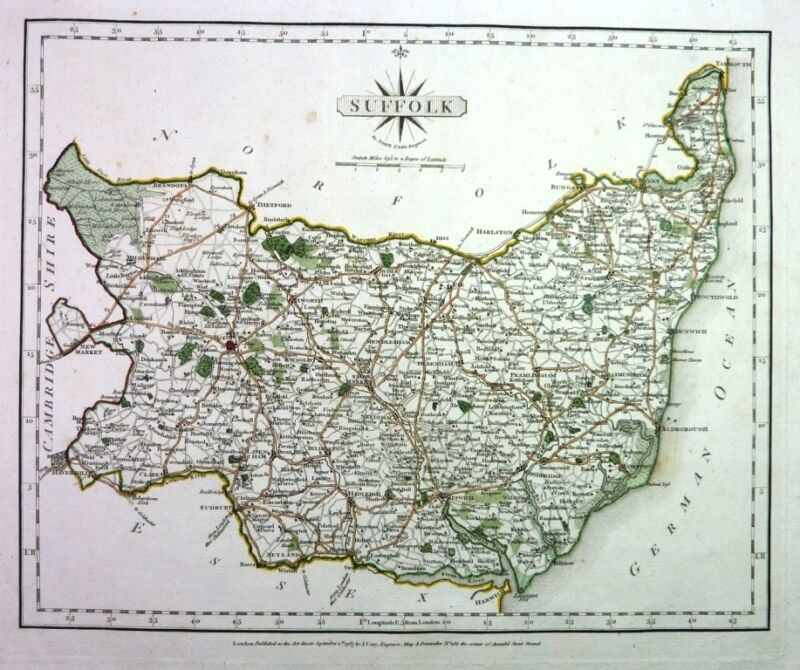Antique map, Suffolk ..