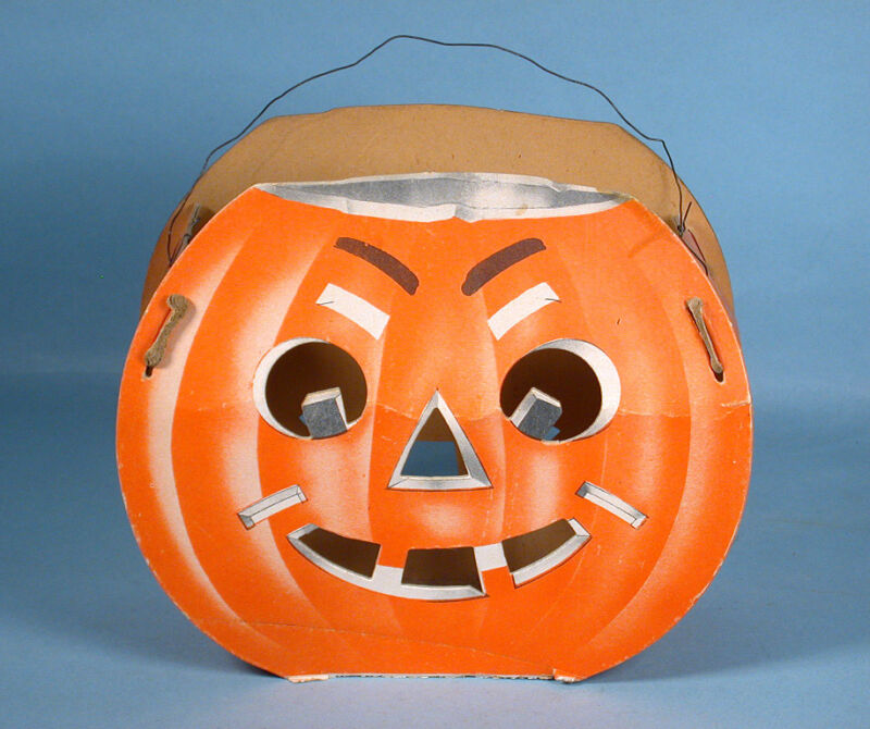 1950s Halloween Jack-o-Lantern Die-cut Cardboard with 2 Faces Alberts Novelty Co