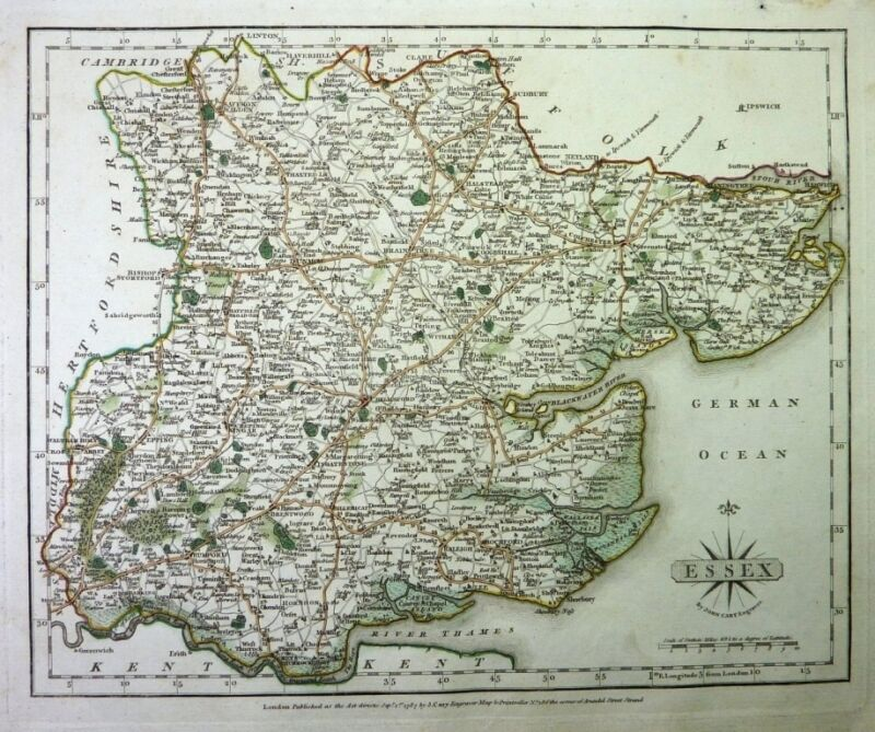 Antique map, Essex …