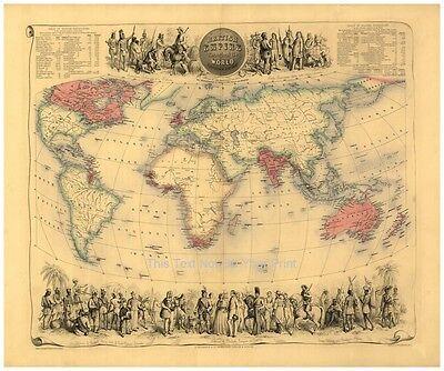 Maße des Britische Reich durch die der Welt Landkarte Bartholomew's Alte Antik