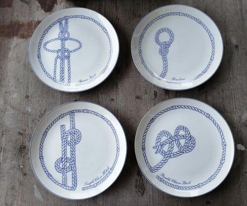 """Schmid Japan Porcelain 8"""" Salad Plates Set of 4 - Nautical Knots Pattern"""