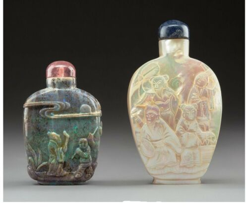 S029 Chinese Carved Opal Snuff Bottle and a Carved Mother-of-Pearl Snuff Bottle
