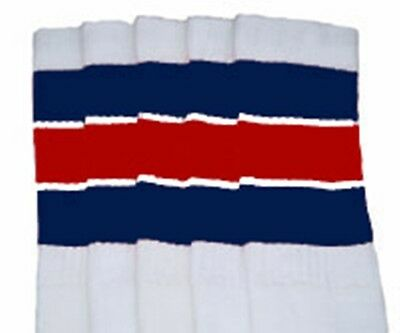 """22"""" KNEE HIGH WHITE tube socks with NAVY BLUE/RED stripes style 5 (22-140) ](Red And White Striped Knee Socks)"""