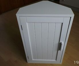 Wooden Corner Bathroom Cabinet - White Tongue & Groove Finish