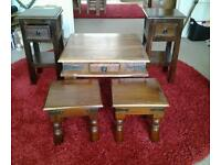 Job lot of sheesham wood furniture